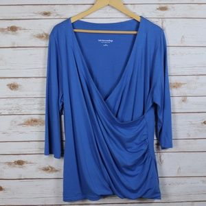 Soft Surroundings Shapely Surplice Knit Top 1X